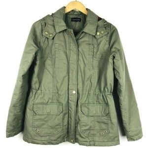 New Look Flannel Hooded Quilted Coat Olive Green
